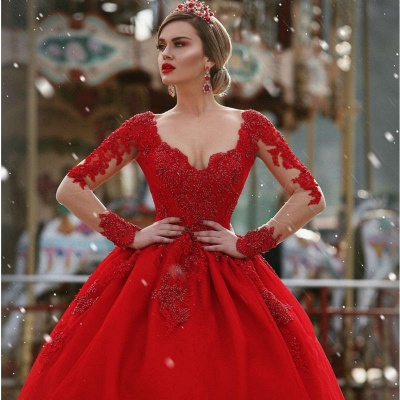 Red New Arrival Lace Appliques Wedding Dresses with Sleeves | Luxury Illusion Sexy  Bridal Gowns Cheap Online_4