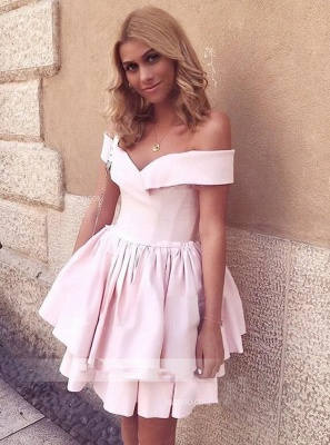 Newest Pink Off-the-shoulder Short Homecoming Dress | A-line Party Gown_1