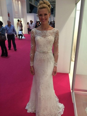 Lace Appliques Elegant Long Sleeve Cheap Online Crystals Buttons Mermaid Wedding Dresses_2