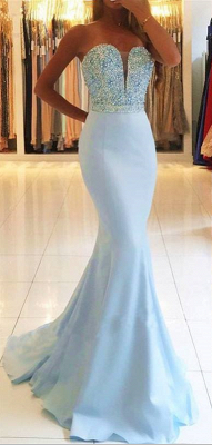 Elegant Strapless Sweetheart Backless Beading Mermaid Prom Dresses
