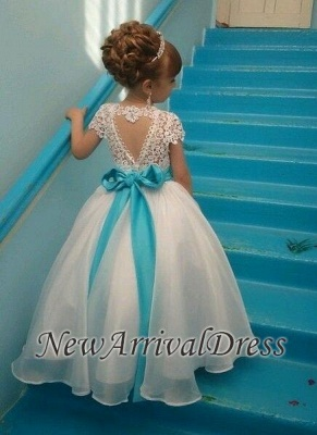 Lace Short-Sleeves Puffy Sash Flower Crystals Girl Dresses