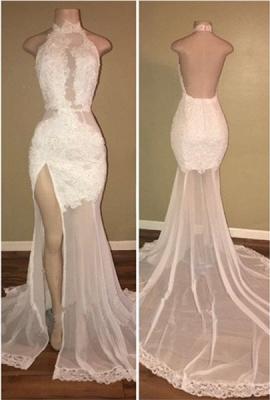 Delicate White Front Split Lace Open Back Prom Dresses Cheap BA8228_1
