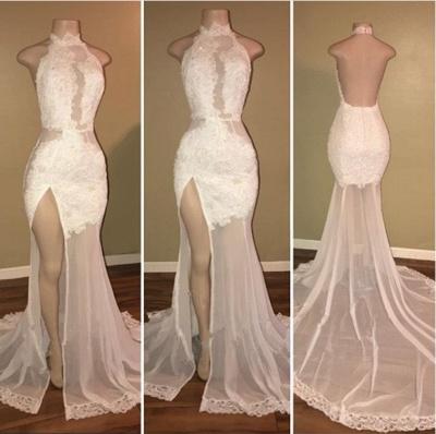 Delicate White Front Split Lace Open Back Prom Dresses Cheap BA8228_3