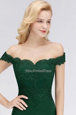 Elegant Mermaid Off-The-Shoulder Lace Green Bridesmaid Dresses_1