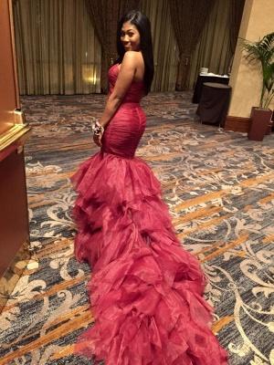 Mermaid Sleeveless Sexy Ruffles Sweetheart Red Prom Dresses_2