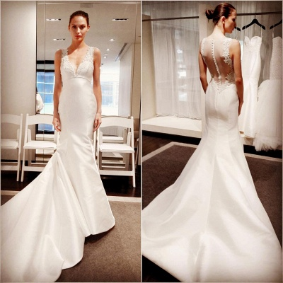 New Arrival V-Neck Gorgeous Sleeveless Lace Appliques Mermaid Button Wedding Dresses_3