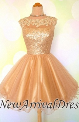 Gold Sequins Appliques Shiny Puffy Sexy Short Homecoming Dresses_1