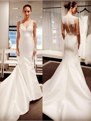 New Arrival V-Neck Gorgeous Sleeveless Lace Appliques Mermaid Button Wedding Dresses_2