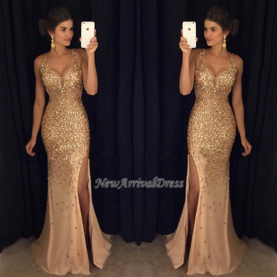 Crystals Gorgeous Mermaid Sleeveless Straps Front-Split Long Prom Dress_1