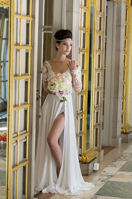 V-neck Cheap Simple Wedding Dresses Online | Chiffon Long Sleeve Sexy Slit Bridal Gowns_5