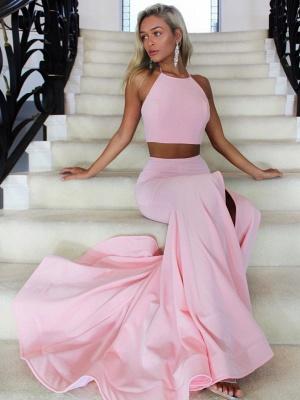 Simple Pink Two Piece Jewel Formal Dress | Cheap Prom Dress_1