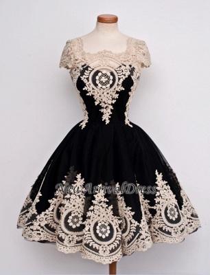 Vintage Cap Sleeve Black Lace Appliques Sexy Short Homecoming Dresses_4