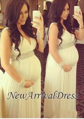 Newest Beads V-neck Sleeveless A-line Long Maternity Prom Dress_3
