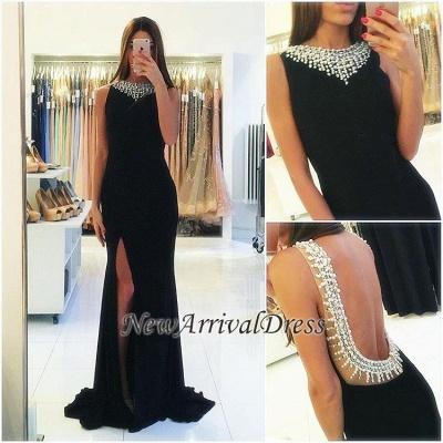 Sheath Side-Slit Sexy Beaded Popular Sleeveless Black Backless Prom Dress_1