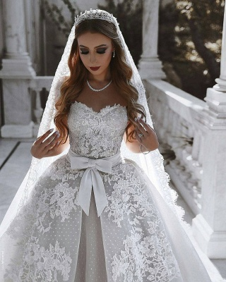 Sexy Lace Wedding Dresses With Bows Cheap | Sweetheart Sleeveless Overskirt Bridal Gowns_4