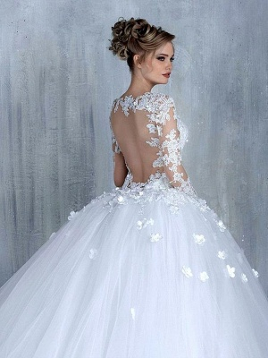 Empire Brautkleider Mit Ärmel Herz Tüll Weiß Hochzeitskleider Mit Spitze Brautmoden_3