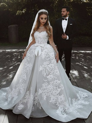 Sexy Lace Wedding Dresses With Bows Cheap | Sweetheart Sleeveless Overskirt Bridal Gowns_1