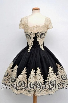 Vintage Cap Sleeve Black Lace Appliques Sexy Short Homecoming Dresses_5