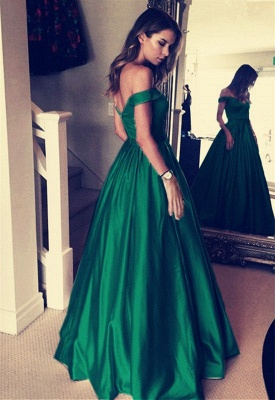 Elegant Off-the-Shoulder Evening Dress |Green Long Prom Dress_3
