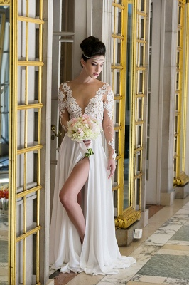 V-neck Cheap Simple Wedding Dresses Online | Chiffon Long Sleeve Sexy Slit Bridal Gowns_1