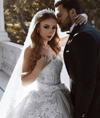 Sexy Lace Wedding Dresses With Bows Cheap | Sweetheart Sleeveless Overskirt Bridal Gowns_3
