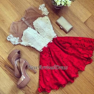 Short Sleeve Illusion Cute Lace Sexy Short Homecoming Dresses BA7001_1