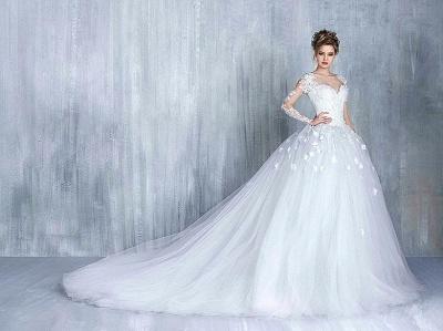 Empire Brautkleider Mit Ärmel Herz Tüll Weiß Hochzeitskleider Mit Spitze Brautmoden_4