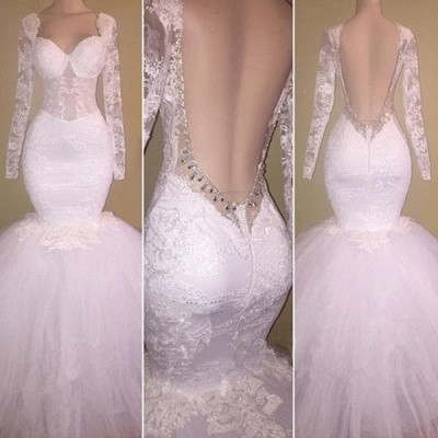 Long Sleeve White Lace Mermaid Beads Prom Dresses Cheap | Prom Dresses Cheap_3