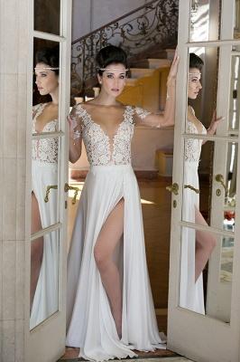 V-neck Cheap Simple Wedding Dresses Online | Chiffon Long Sleeve Sexy Slit Bridal Gowns_2