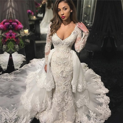 V-neck Beads Lace Appliques Wedding Dresses with Sleeves   Mermaid Overskirt Bridal Dresses_3