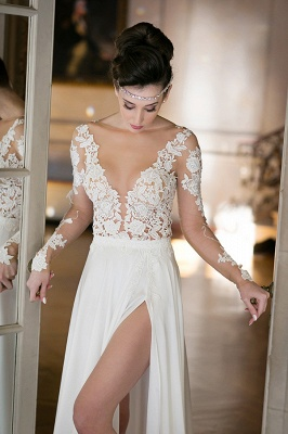 V-neck Cheap Simple Wedding Dresses Online | Chiffon Long Sleeve Sexy Slit Bridal Gowns_4