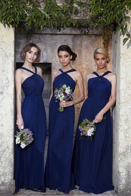 Modern Halter Royal Blue Long Chiffon Wedding Party Bridesmaid Dress_1