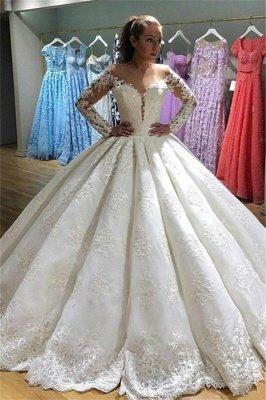 Elegant Long Sleeves Appliques Wedding Dresses   Puffy Sheer Bridal Ball Gown_1