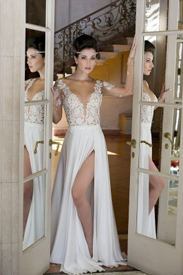 V-neck Cheap Simple Wedding Dresses Online | Chiffon Long Sleeve Sexy Slit Bridal Gowns_2