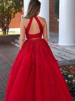Delicate High Neck Red Tow Piece Evening Dress   A-line Evening Gown_3
