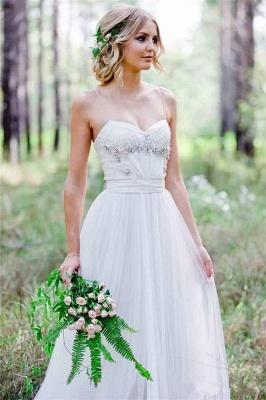 Tulle A-Line Custom Made Sexy Spaghetti Straps Beadings Simple Wedding Dresses_4
