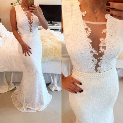 White Lace Beaded Prom Dresses Sleeveless Mermaid Appliques Evening Gowns BT00_2