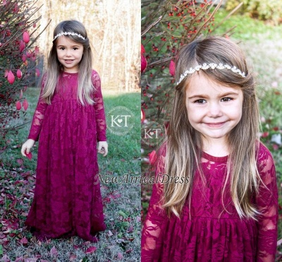 Cute Fuchsia Sleeves Long Flower Lace Girl Dresses_1
