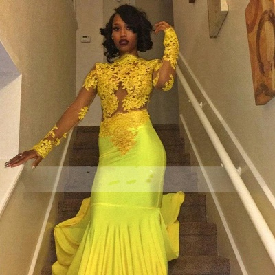 High-Neck Yellow Long-Sleeve Mermaid Appliques Beautiful Lace Prom Dress_2