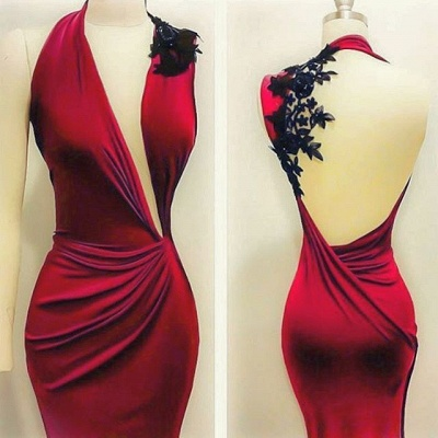 Red Black Lace Appliques Sheath Sleeveless Prom Dresses Cheap BA7869_3