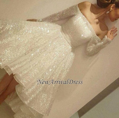 Bling Short Tiers-Skirt Long-Sleeves Off-the-Shoulder Prom Dresses_1