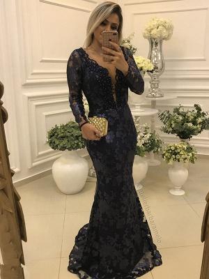 Modern Long Sleeve Mermaid V-neck Lace Zipper Mother Of Bride Dress_1