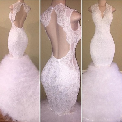 New Arrival White Lace Straps Sleeveless Ruffles Prom Dresses Cheap_3