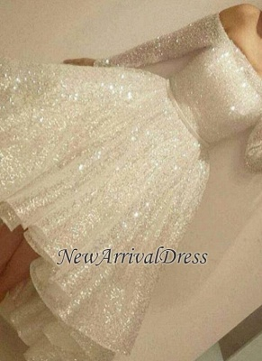 Bling Short Tiers-Skirt Long-Sleeves Off-the-Shoulder Prom Dresses_3