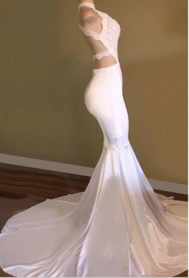 New Arrival High Neck Sleeveless Evening Gowns | White Mermaid Prom Dresses Cheap_3