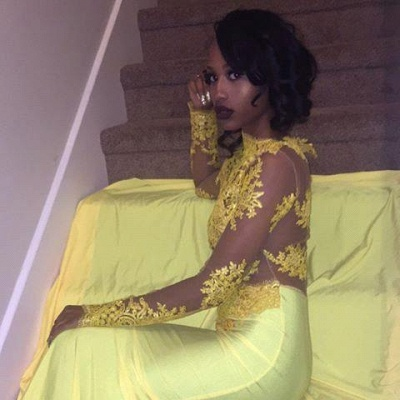 High-Neck Yellow Long-Sleeve Mermaid Appliques Beautiful Lace Prom Dress_3
