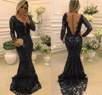 Modern Long Sleeve Mermaid V-neck Lace Zipper Mother Of Bride Dress_3