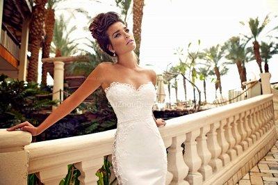 Sweetheart White Lace Wedding Dresses 2018 Mermaid Zipper Sleeveless Bridal Dresses_2