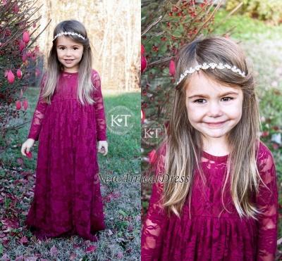 Cute Fuchsia Sleeves Long Flower Lace Girl Dresses_1