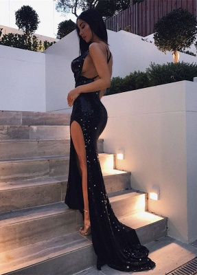 Sexy Slit Black Sequins Cheap Formal Dresses | Open Back Criss-cross Prom Dresses_1